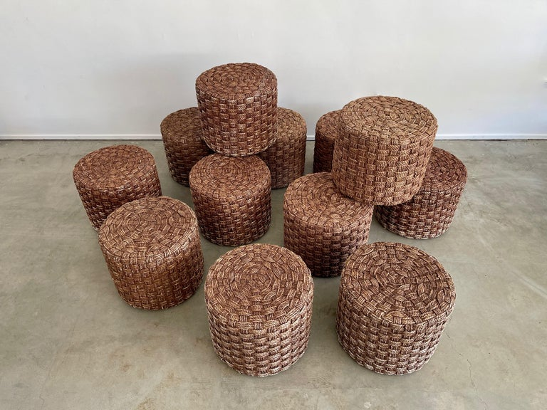 Audoux Minet Style Rope Stools In Good Condition For Sale In Los Angeles, CA