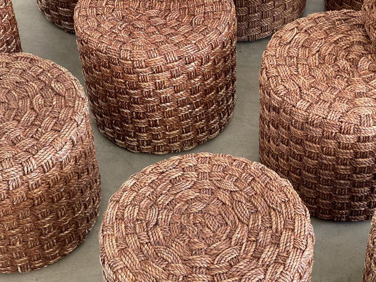 Mid-20th Century Audoux Minet Style Rope Stools For Sale