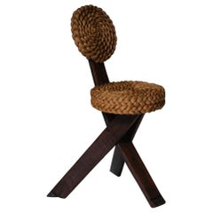 Audoux Minet Wood and Rush Side Chair, France, 1960's
