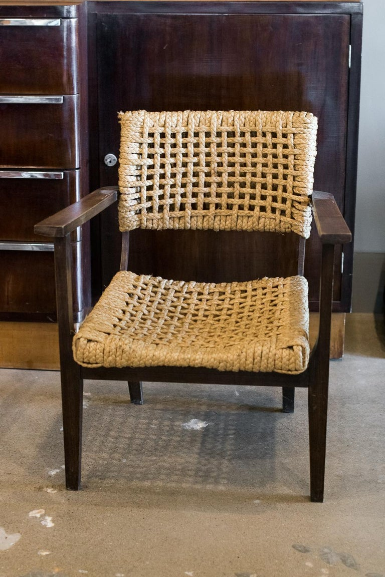 French Audoux-Minet Woven Armchair, France, 1940s For Sale