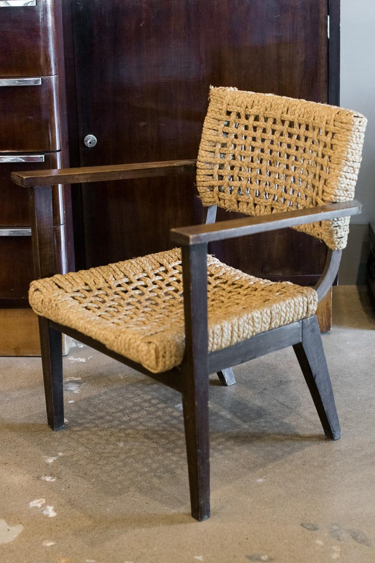 Audoux-Minet Woven Armchair, France, 1940s In Fair Condition For Sale In Austin, TX