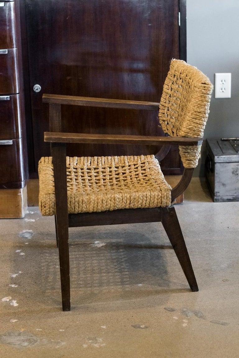 Mid-20th Century Audoux-Minet Woven Armchair, France, 1940s For Sale