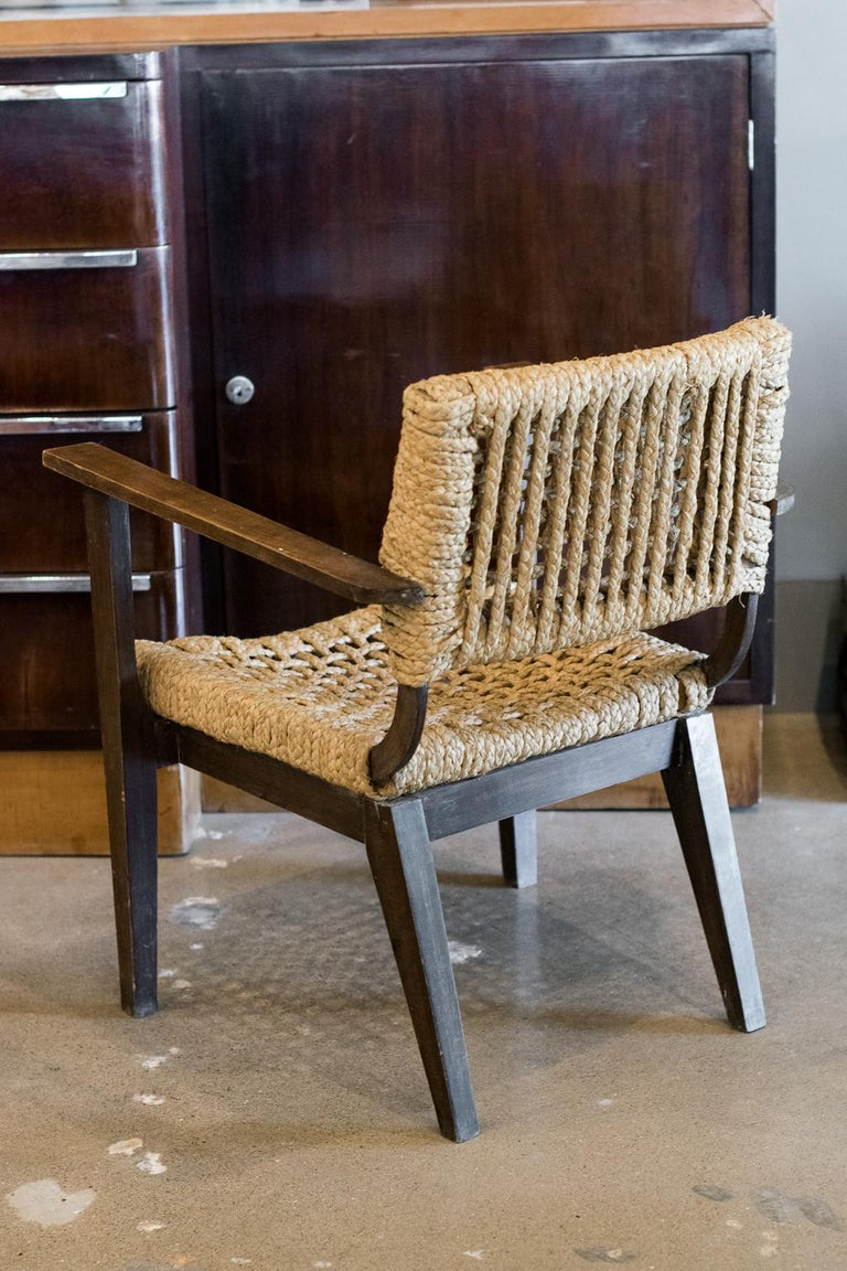 Rope Audoux-Minet Woven Armchair, France, 1940s For Sale