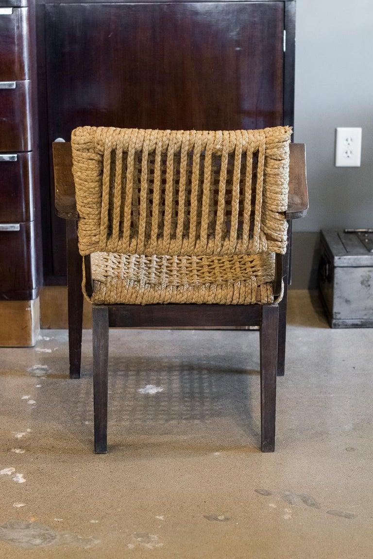 Audoux-Minet Woven Armchair, France, 1940s For Sale 1