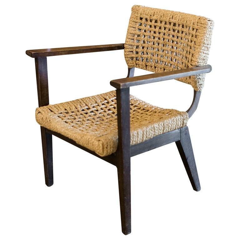 Audoux-Minet Woven Armchair, France, 1940s For Sale