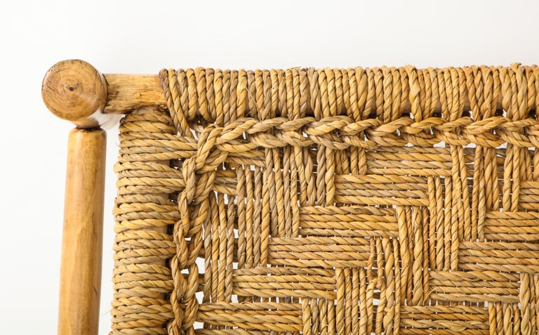 Audoux & Minet Woven Rope and Wood Coffee Table or Bench For Sale 3
