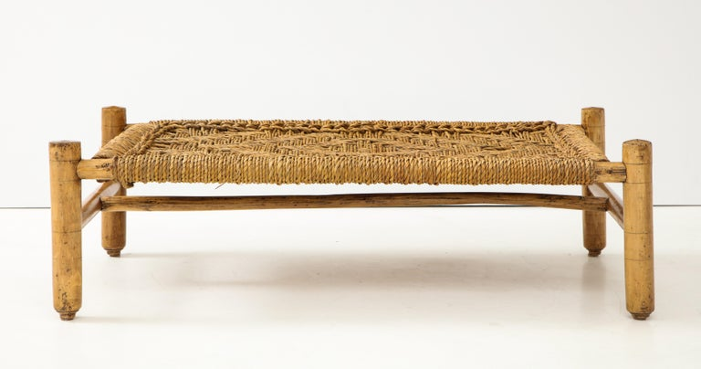 Mid-Century Modern Audoux & Minet Woven Rope and Wood Coffee Table or Bench For Sale