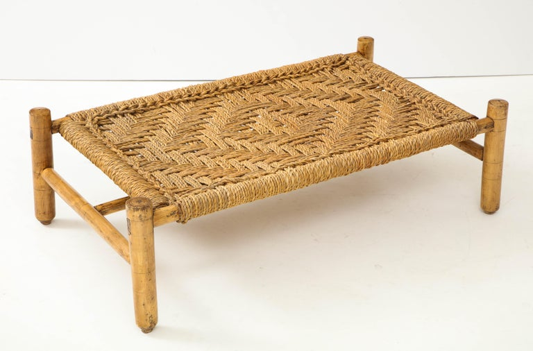 French Audoux & Minet Woven Rope and Wood Coffee Table or Bench For Sale