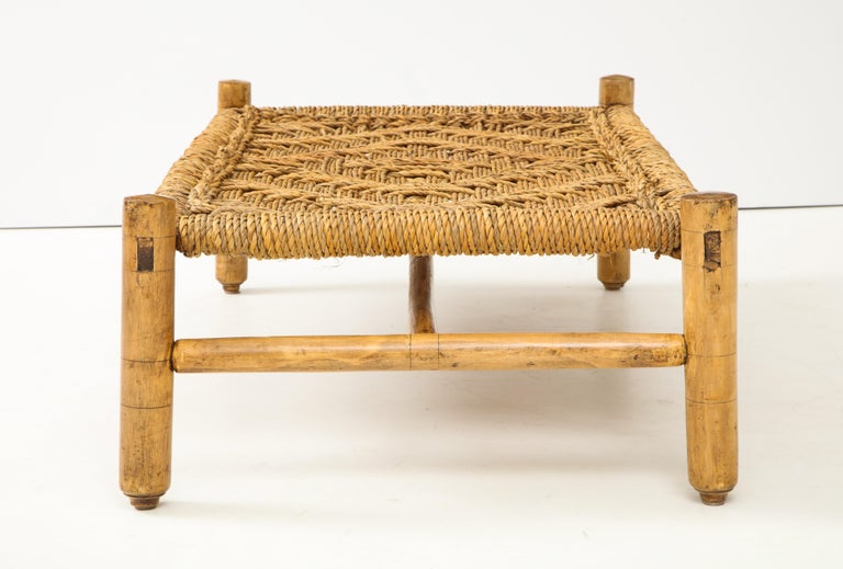 Hand-Woven Audoux & Minet Woven Rope and Wood Coffee Table or Bench For Sale