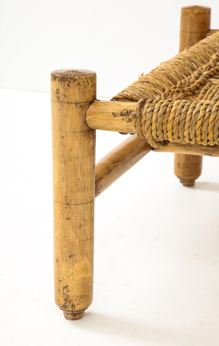 Audoux & Minet Woven Rope and Wood Coffee Table or Bench In Good Condition For Sale In New York City, NY