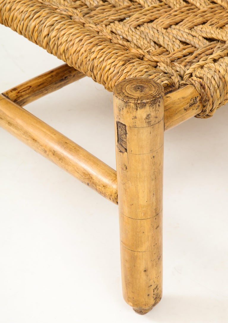 Mid-20th Century Audoux & Minet Woven Rope and Wood Coffee Table or Bench For Sale