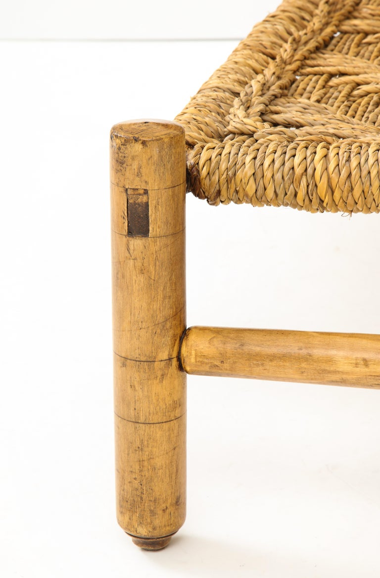 Audoux & Minet Woven Rope and Wood Coffee Table or Bench For Sale 1