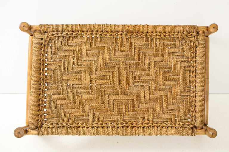 Audoux & Minet Woven Rope and Wood Coffee Table or Bench For Sale 2