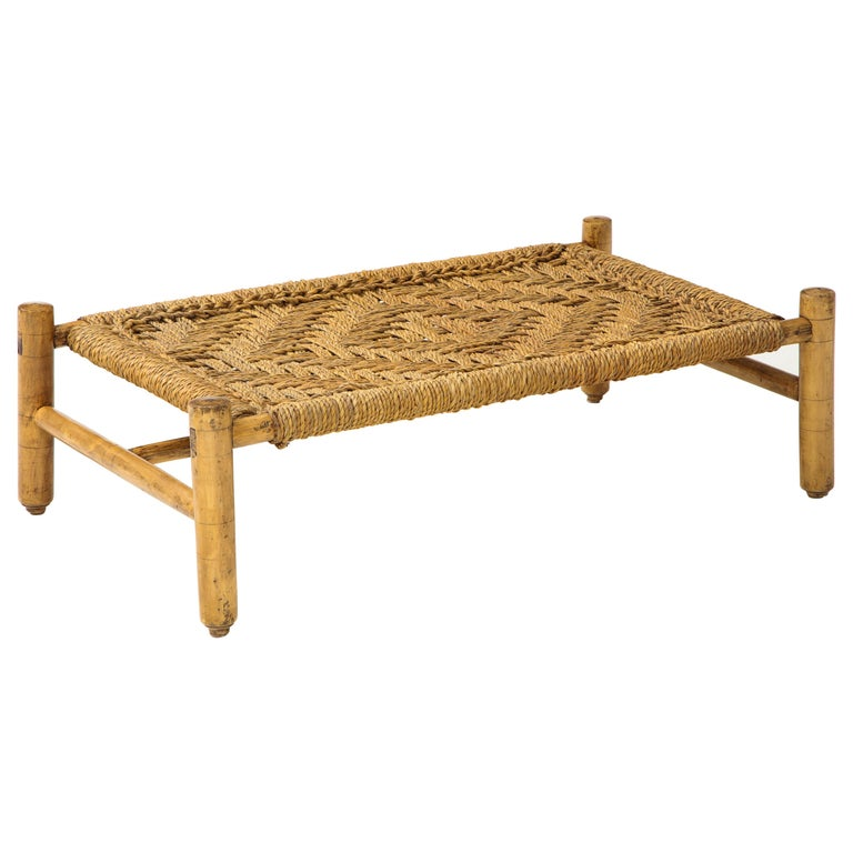 Audoux & Minet Woven Rope and Wood Coffee Table or Bench For Sale