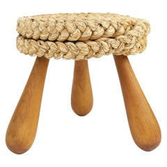 Audoux Minet Woven Rush Wicker Stool, France 1950s