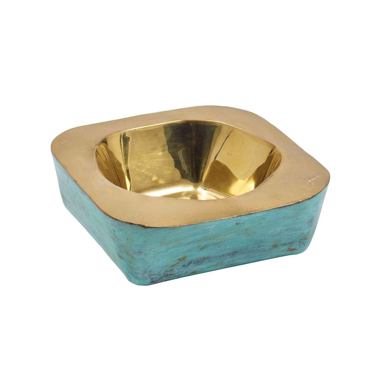 Audra Square Brass Bowl with Green Patina Finish by CuratedKravet For Sale
