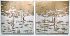 Gold Gardens Diptych, Audra Weaser, Acrylic, Plaster, Metallic Pigments on Panel
