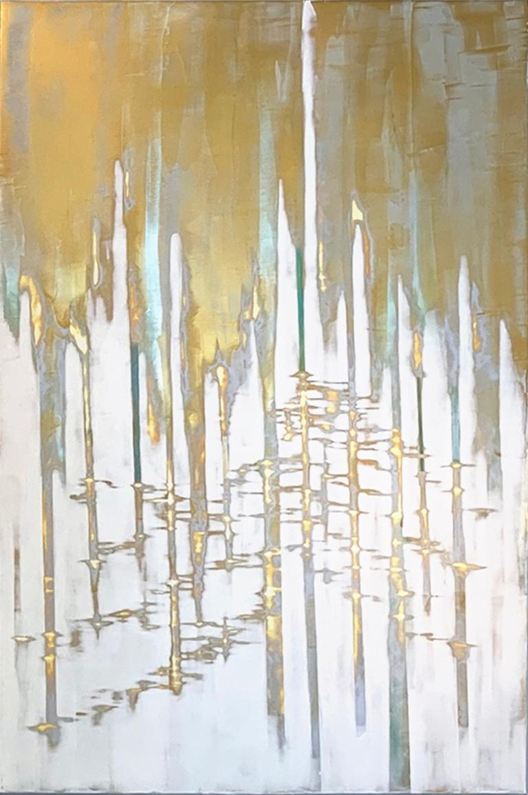 Rendezvous III- Gold Metallic Paint - Mixed Media Art by Audra Weaser