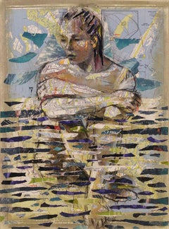 Aquatic, drawing and collage of female figure in water with text, maps, mermaid