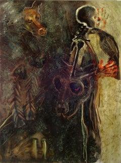 Cane Morte, mysterious elements w dog, skeleton, hands, fish bones, raven bird