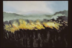 Etna, oil on canvas of multiple figures watching volcano, Italian landscape