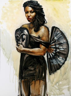 Performer w African Mask, Asian Fan, predominantly black and white oil on panel