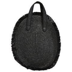 Audrey black rafia handbag