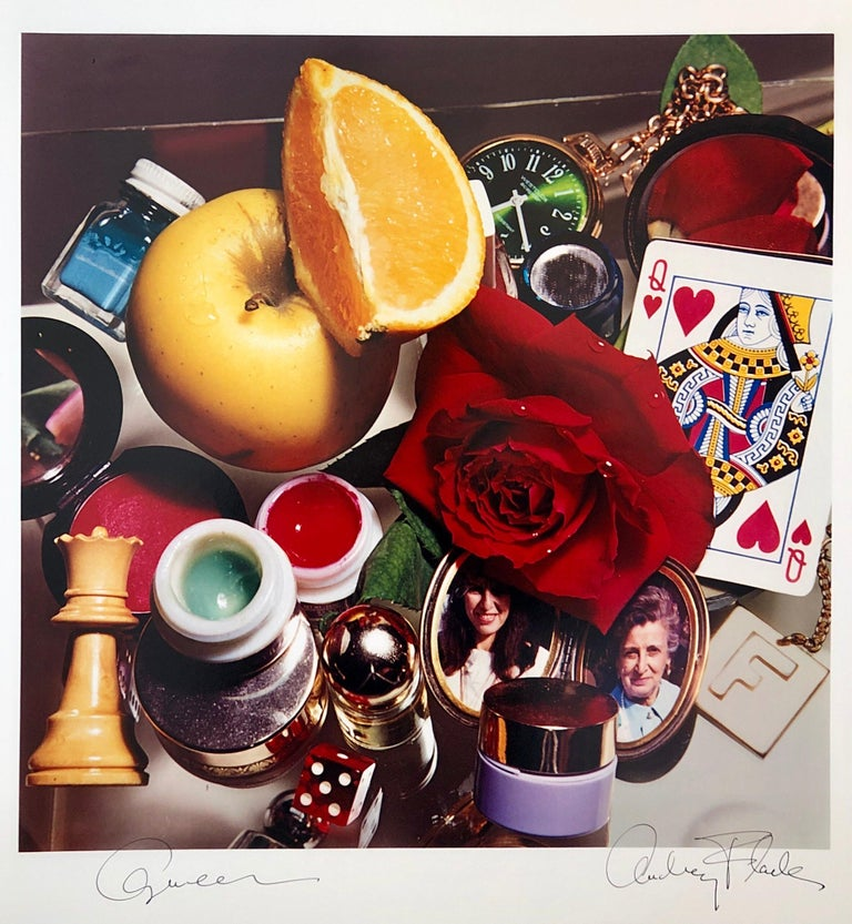 """Hand signed and titled in ink by the artist from edition of 50 (plus proofs). Color Photo printed at CVI Lab by master printer Guy Stricherz. Published by Prestige Art Ltd. From the color saturated 1980's. """"Queen"""" featuring a red rose, paint, a"""