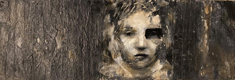 """""""Chiaroscuro"""" textured oil on panel female, disrupted realism, monochromatic - Mixed Media Art by Audrey Frank Anastasi"""
