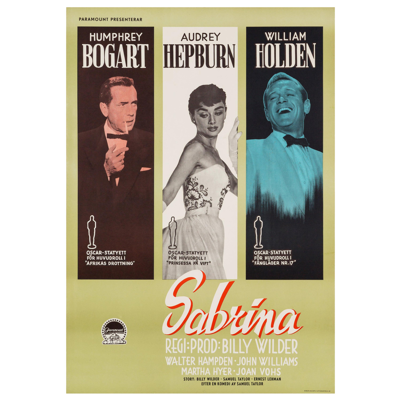 Audrey Hepburn 'Sabrina' Original Vintage Movie Poster, Swedish, 1955