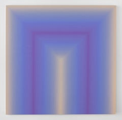 Come Close, Square Abstract Painting with Stripes in Lilac, Pale Purple, Beige