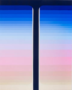Dark Pour, Vertical Abstract Painting with Stripes in Cobalt Blue, Beige, Pink