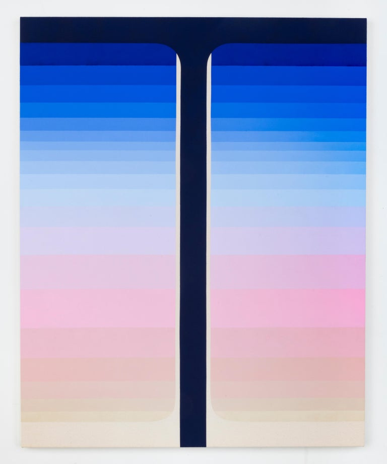 Dark Pour, Vertical Abstract Painting with Stripes in Shades of Blue and Pink For Sale 1