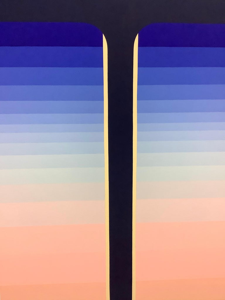 Dark Pour, Vertical Abstract Painting with Stripes in Shades of Blue and Pink For Sale 5