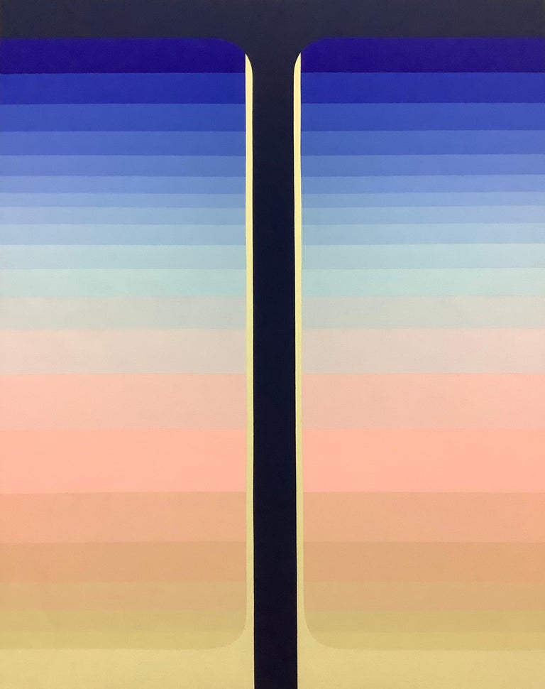 Dark Pour, Vertical Abstract Painting with Stripes in Shades of Blue and Pink For Sale 6