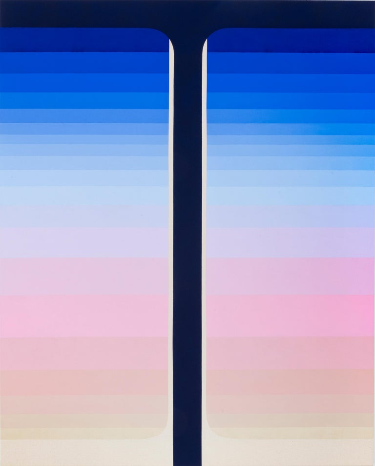 In this large vertical abstract flashe painting on canvas, thick blocks of color in gradient shades of blue starting with dark navy and bright cobalt at the top fade into lilac and pale pink to a thick stripe of a creamy pale peach color at the
