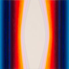 Here, Square Abstract Painting with Multicolored Rainbow Stripes in Red, Blue