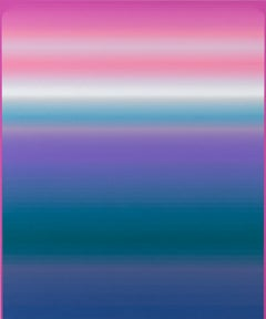 Pink Hold, Vertical Abstract Painting with Stripes, Pink, Violet, Indigo, White