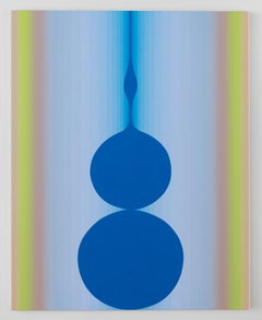 Still Still, Vertical Abstract Painting with Circles, Stripes, Blue, Lime Green