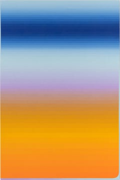 Switch Hold, Vertical Abstract Painting with Stripes, Orange, Pink, Cobalt Blue
