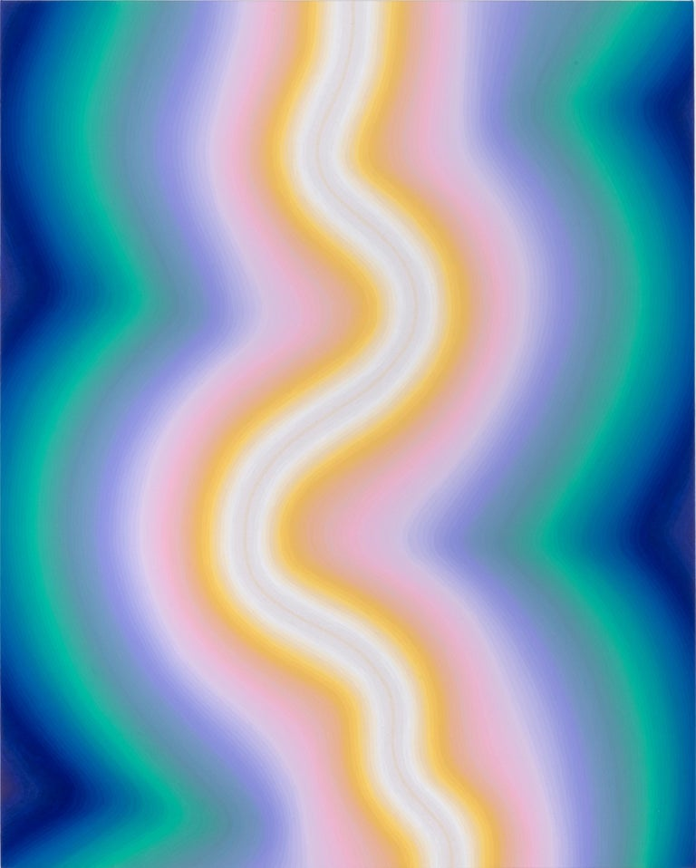 In this large vertical abstract flashe and acrylic medium painting on canvas, curving striations of gradient color start from bright cobalt blue at the edges and transition to pale mint, teal green,  lilac, pale pink and canary yellow to a thick
