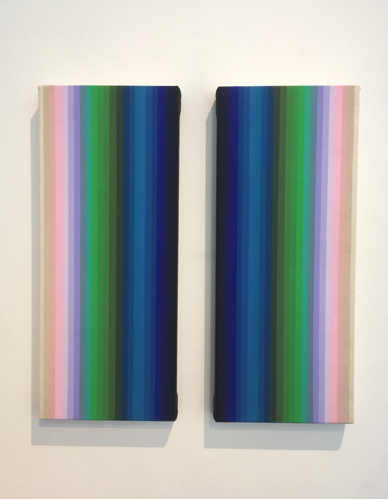 Together and Apart, Abstract Diptych, Vertical Stripes in Pink Lilac Blue Green - Painting by Audrey Stone