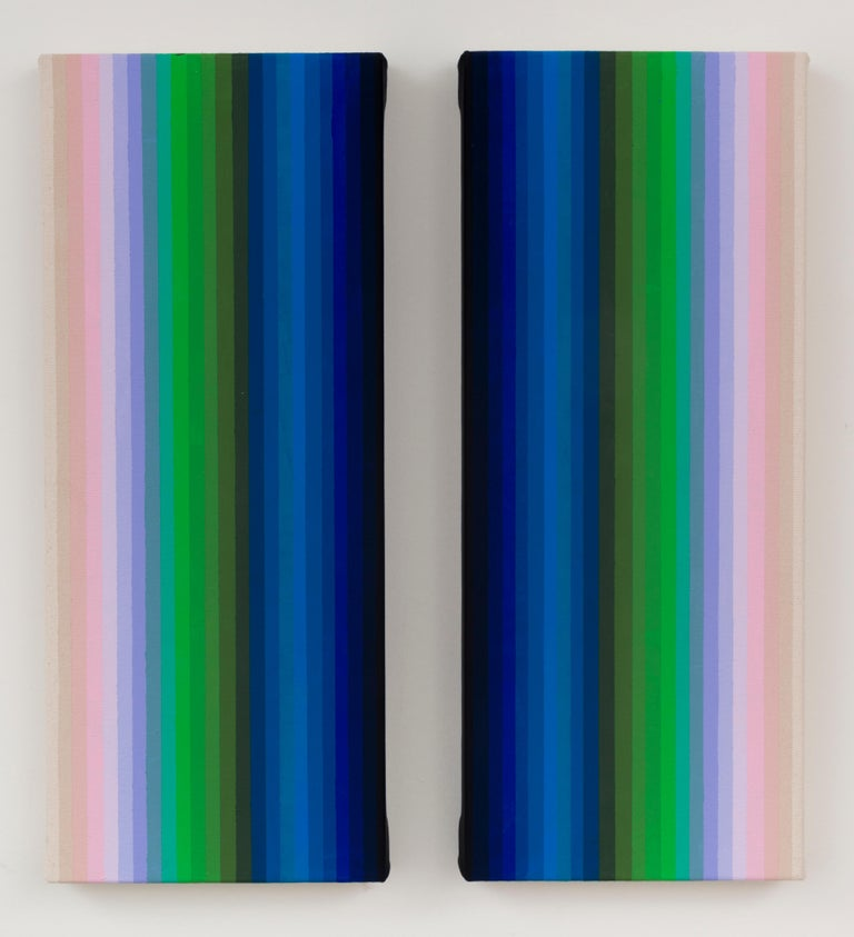 Audrey Stone Abstract Painting - Together and Apart, Abstract Diptych, Vertical Stripes in Pink Lilac Blue Green