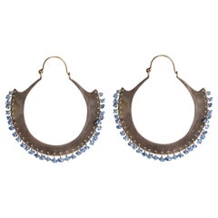 Audrey Werner, 18-Karat Sterling Silver and Sapphire Hoop Earrings, US, 2008