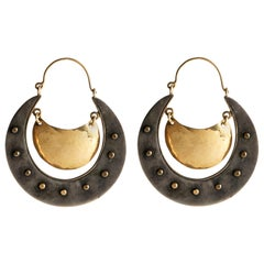 "Audrey Werner, 18-Karat Sterling Silver ""Shield"" Hoop Earrings, United States"