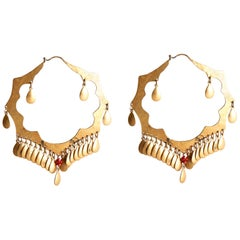 Audrey Werner, 24-Karat Plated Brass and Coral Earrings, US, 2001