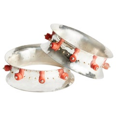 Audrey Werner, Pair of 18-Karat Sterling Silver and Coral Bangles, US, 2020