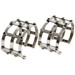 Audrey Werner, Pair of Sterling Silver & Madiera Citrine Cage Cuffs, US, 2001