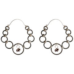 Audrey Werner, Silver, Iron, and Pearl Hoop Earrings, US, 2006