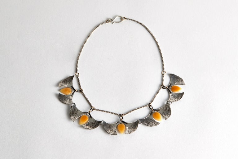 North American Audrey Werner, Sterling Silver, Amber, and Iron Gingko Necklace, US, 2020 For Sale
